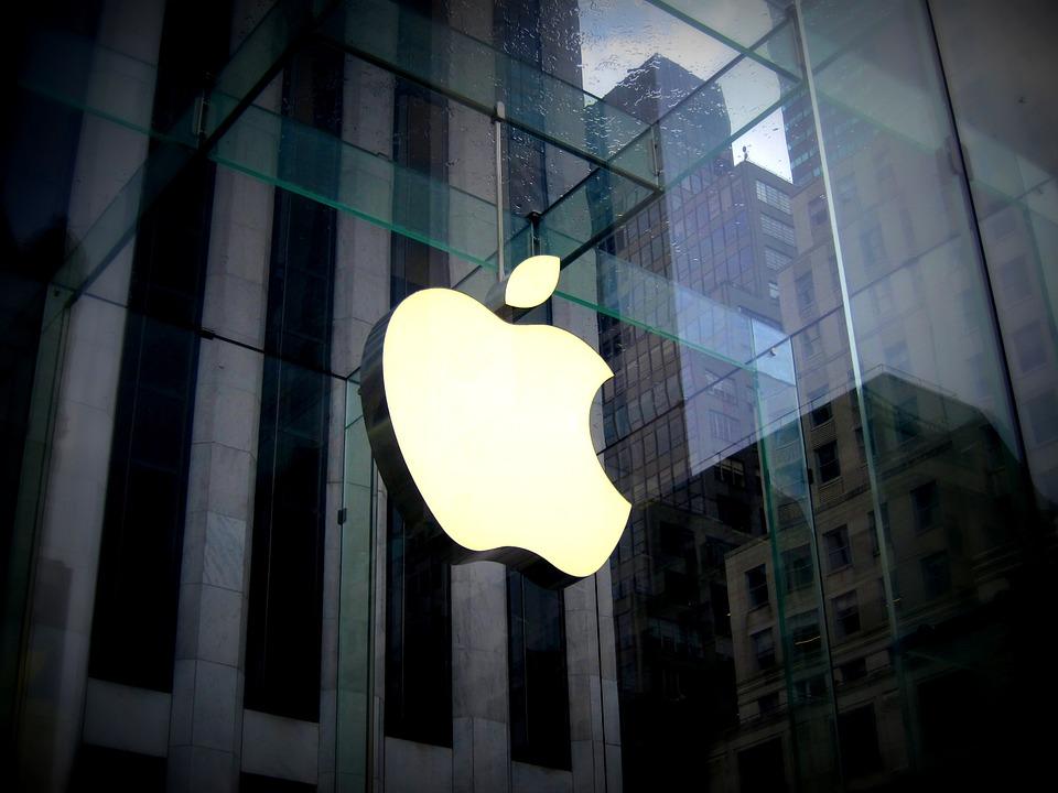 Das Apple Logo auf Glas
