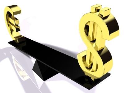 Bild mit Euro und Dollar auf Waage