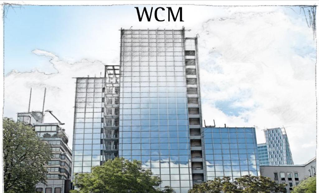 handgezeichnetes Firmangebüde der WCM
